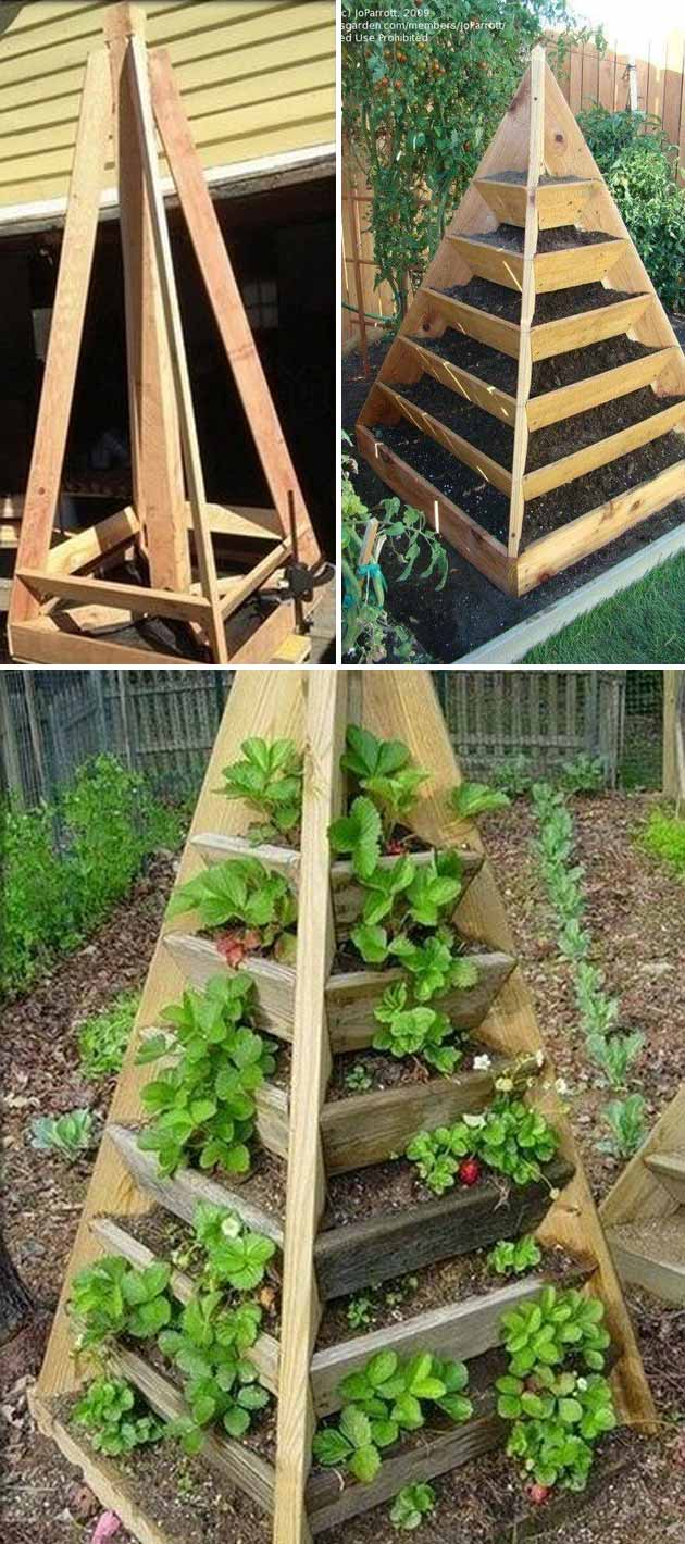 wooden pyramid tower garden