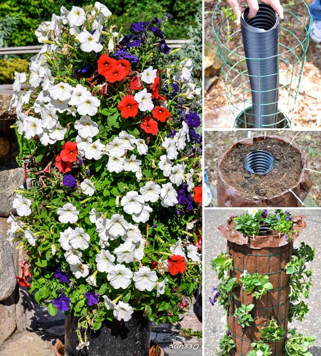 Make a flower tower with wire fencing and a plastic pipe