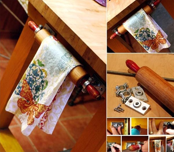 rolling pin on kitchen island for towel storage