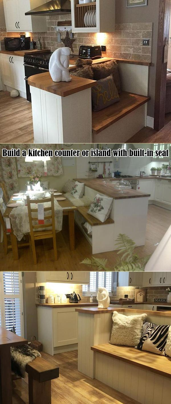 kitchen counter or island with built-in seat