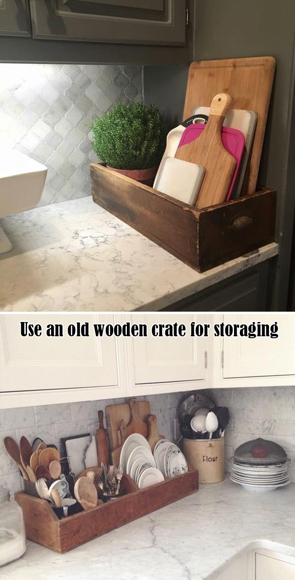 old wooden crate to storage cutting boards