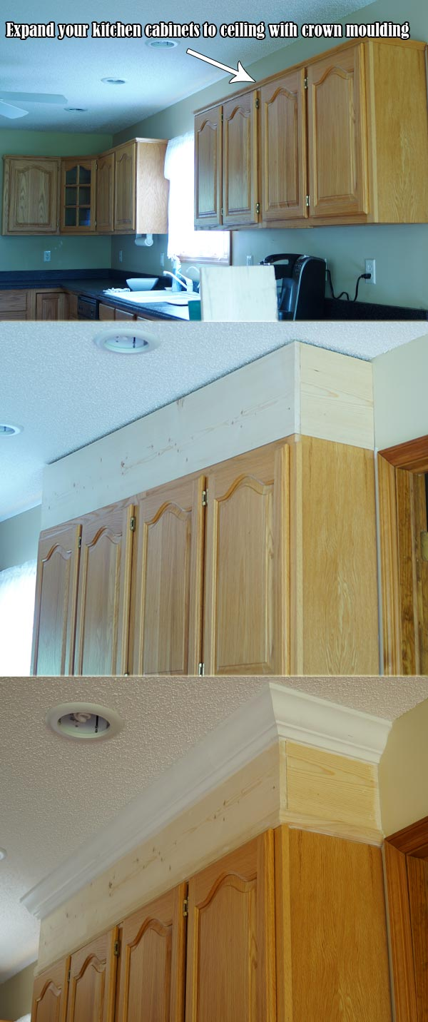 Expand your kitchen cabinets to ceiling with crown moulding
