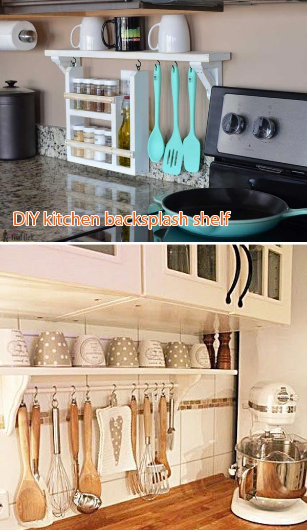 DIY kitchen backsplash shelf