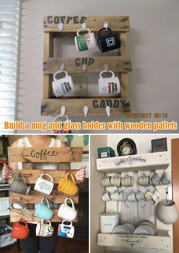 mug and glass holder with wooden pallets