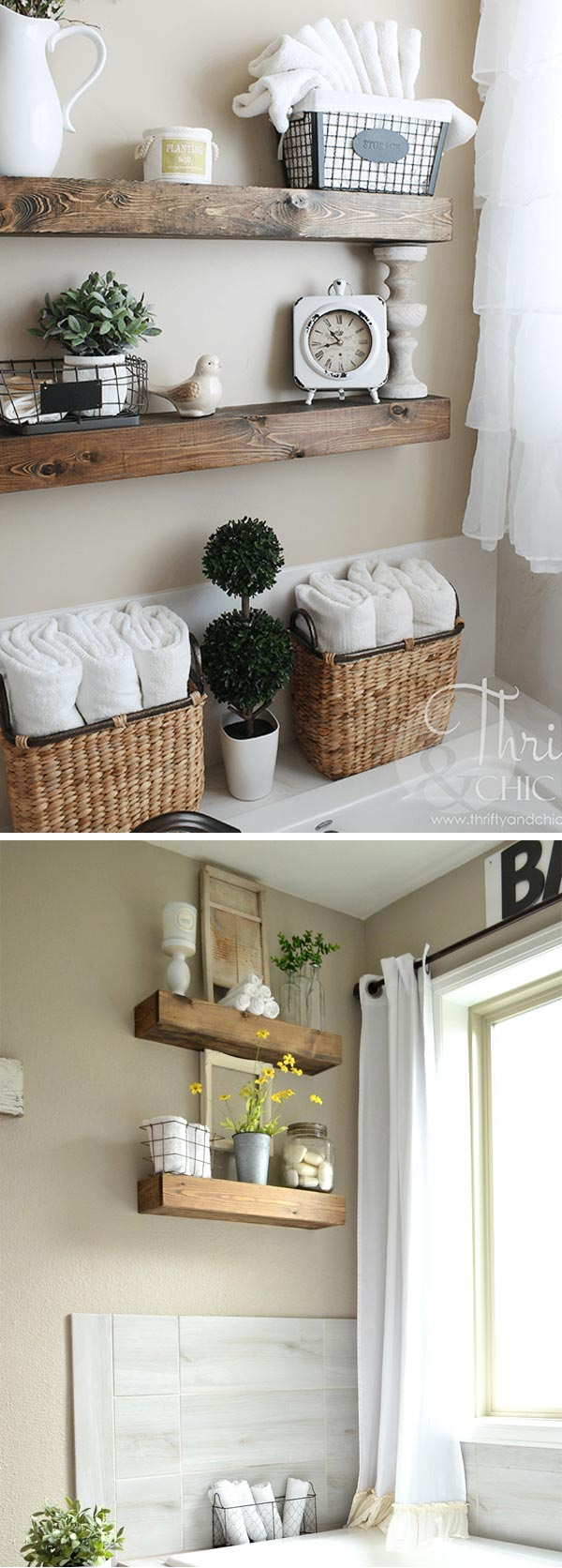 4. Create A Cute Floating Exposed Shelving For Your Bathroom: