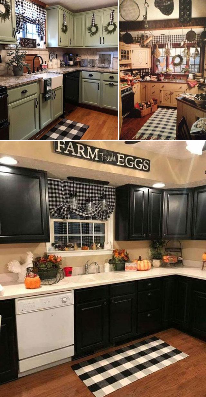 Farmhouse Kitchen Decor Farmhouse Christmas Buffalo Plaid Napkins Farmhouse Decor Black White Buffalo Plaid Kitchen Linen